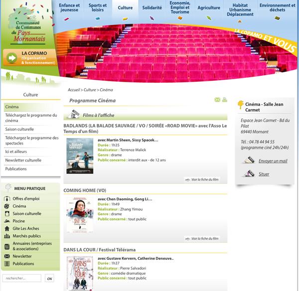Le site de la Copamo, page cinéma