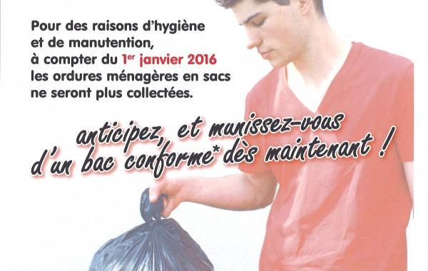 Bac roulants ordures ménagères – Obligation à compter du 1er janvier 2016